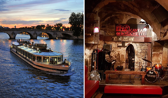 Lounge dinner cruise + Jazz evening at the Caveau de la Huchette