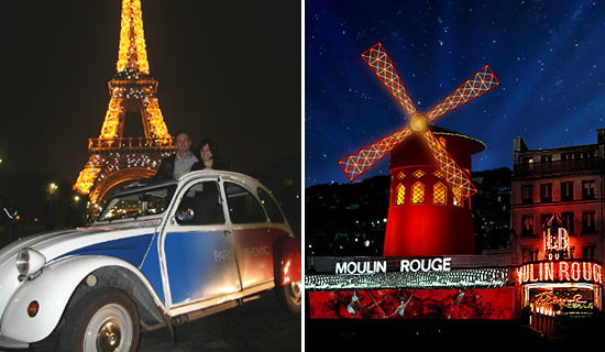 Visita Paris de noche en 2CV y Espectaculo del Moulin Rouge