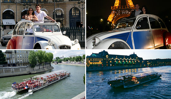 Paris Tour by 2CV + Cruise - by day or by night