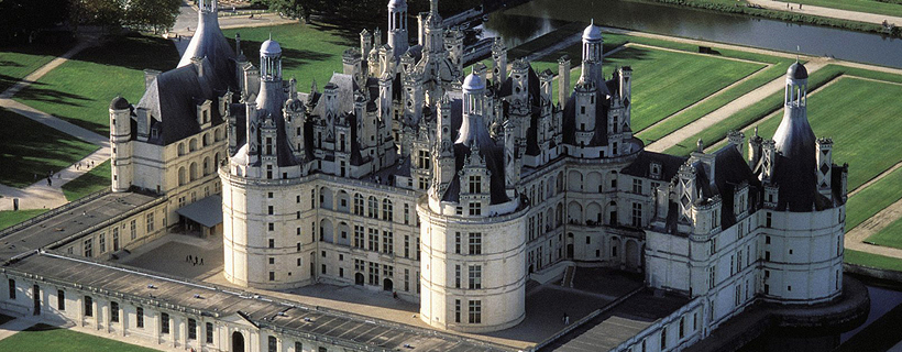 The castle of Chambord from the sky