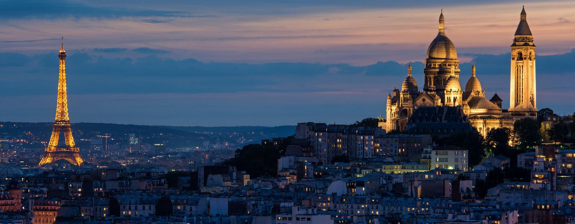 The sacré coeur at Monmartre and the Eiffel Tower