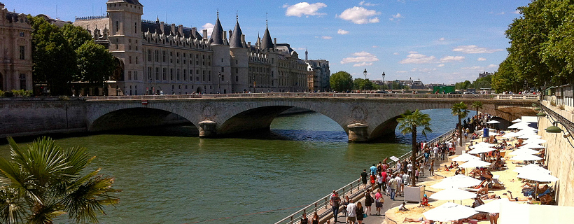 Paris beach and the Conciergerie
